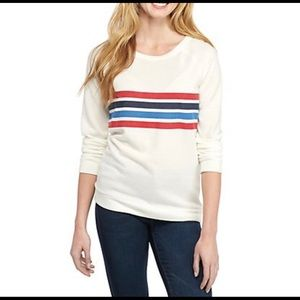 Pink Rose Crew Neck Sweater, Striped, New, size L